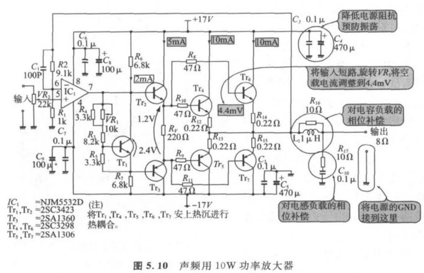 10w功放电路里面电容负载的相位补偿和对电感负载的