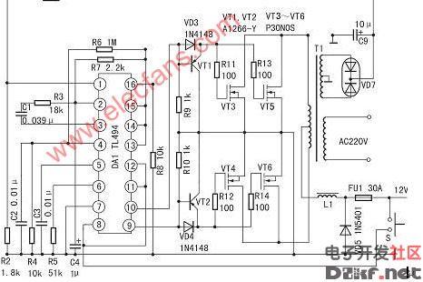 400w大功率稳压逆变器电路图