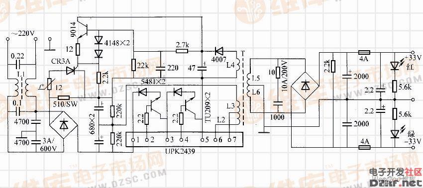 功放专用开关电源   电路工作原理:电路由输入整流滤波、二次软启动、开关式电压变换和低压高速整流滤波输出等4个部分组成。市电在进入高压整流之前,先经过由L1以及电容组成的滤波电路,以消除可能产生的高频噪声波干扰,再送入高压式整流器进行整流,其脉动直流高压经510大功率电阻向高压滤波电解电容限流充电。当开关控制电路UPK2439第5脚电压上升到约100V时,开关控制电路被启动,L2、L3产生幅值较小的高频龟压,通过磁耦合使L4产生感应电动势,二次也有较小能量输出。当第5脚电压上升到200V时,L4中感应电动