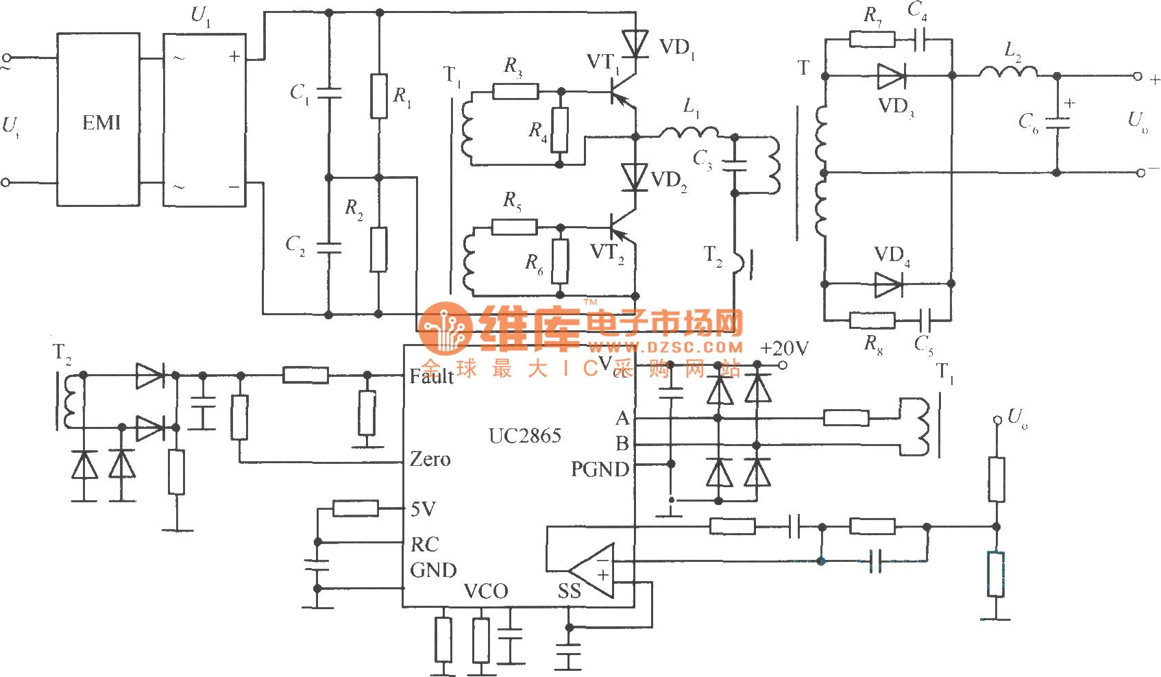 相关元件PDF下载: UC2865 如图是一个零电流转换软开关稳压电源的实用电路:输入单相交流;输出直流;主开关管采用MOSFET;功率变换电路采用半桥电路;集成控制芯片用UC2865;功率变换方式采用零电流变换电路。
