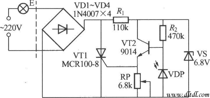 电路安装时,光敏二极管vdp同样应注意避免灯e的自身