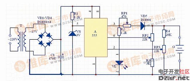 555集成电路制作全自动充电器电路图