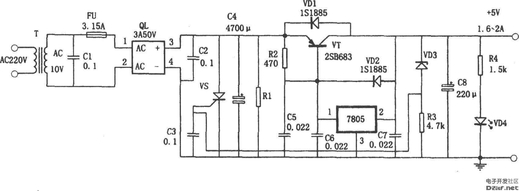 如图所示为一种具有扩流和过压保护功能的 5V稳压电路,它采用在三端稳压器7805(最大电流1.5A)上跨接大功率三极管的方法扩展电流,使本电源的输出电流可达到2.5A左右。同时用5.6V稳压管、VD3、R3和Vs(可控硅)组成过压保护电路。由于某种原因电源的输出电压达到或超过5.6V(VD3的稳压值)时,VD3将被击穿导通,可控硅Vs得到触发电压而导通,造成FU保险丝快速熔断。从而保护了负载。本电源可作为实验电源。