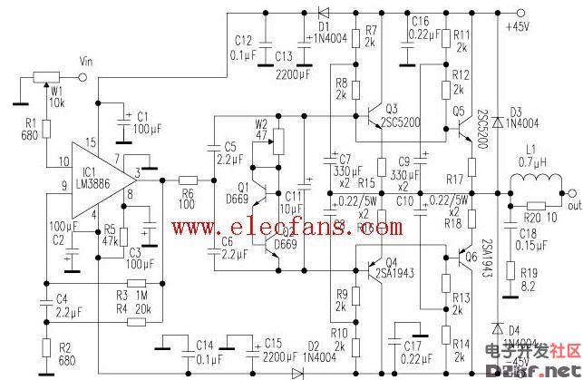 这款功放的末级电流放大电路未介入环路负反馈