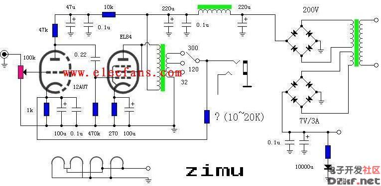12au7+el84耳放电路图