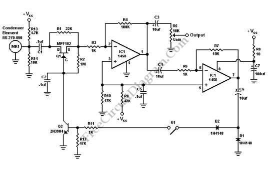 该电路包含一个反馈 放大器和音频前置放大器 。S1应该是封闭的,使用语音处理器。R5是用来为基本前置放大增益控制麦克风离开S1开路。Q2触发进行语音峰从反馈 放大器,当S1闭合。源和Q1的漏极之间的电阻大大增加,因为门变成负第一季度。在声音非常大峰,电阻R1允许少量的音频传递。平稳的声音,该电路采用电容C2。C6给出了一个时间延迟,所以我们可以做快速攻击,缓慢释放行动。R7的,可以由一个电位器代替 。