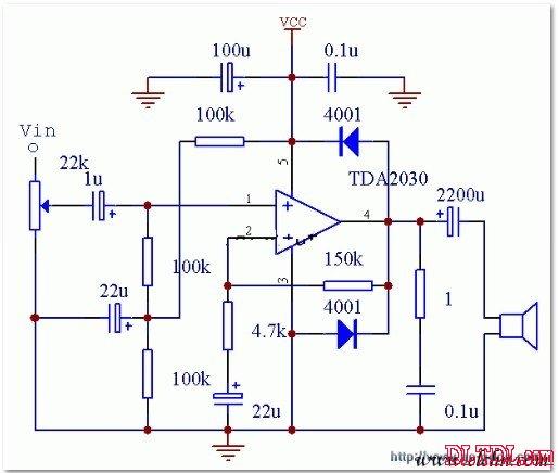 用tda2030制作的有源功放电路图示意图