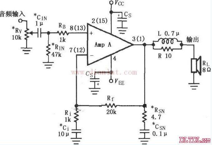 rv为音量电位器,用于调节音量大小;rin为设置放大器