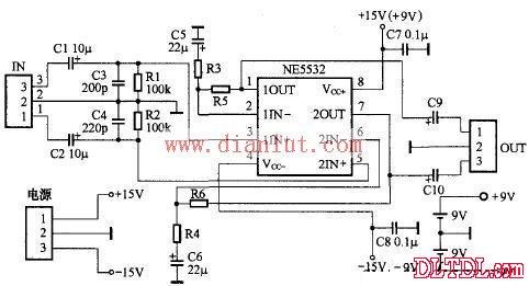 ne5532小功率耳机功放电路原理图