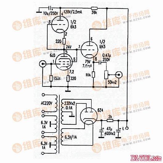 利用6j1+6n3制作高保真耳放电路图