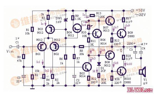 功率放大器使用恒流源的典型电路图