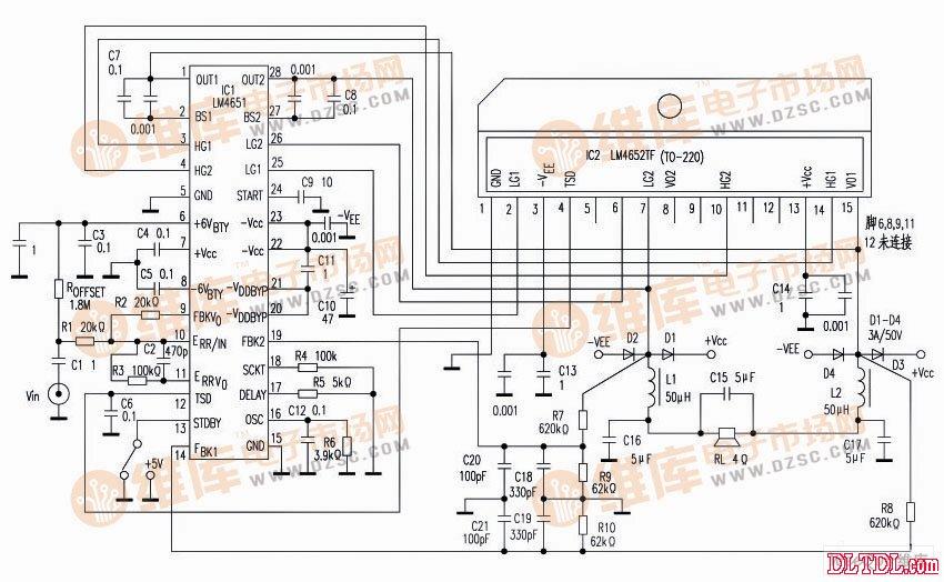 d类125w超低音功放率放大器电路图