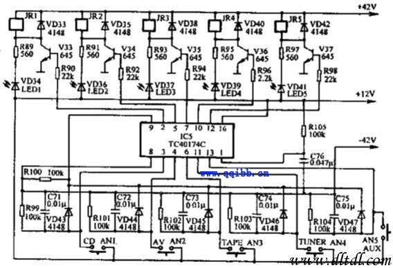 中联f-9500a放大器节目源选择电路