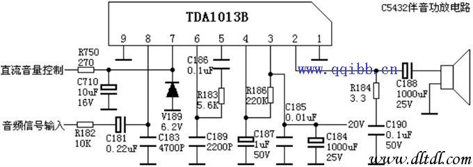 TDA1013引脚功能及参考电压: 1脚:0V地 2脚:7.7V伴音输出 3脚:16V电源 4脚:13.5V电源 5脚:0.3V功放输入 6脚:6.7V前置输出 7脚:2.8V音量控制 8脚:1.9V音频输入9脚:0V地