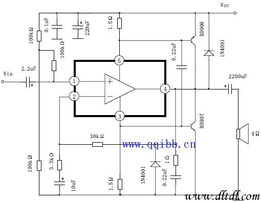 在以往电子报刊中常介绍给功放集成电路取消负反馈电容,再加上一个由运算放大器构成的直流伺服电路,使其变成一个纯直流功放电路,事实对TDA2030A,还有LM3886等,根本不需多此一举,直接取消该电容即可,用数字万用表实际测量输出端,发现它的零点偏移很少,只有几毫伏左右,本人用这样的电路多年还没有烧坏集成块和扬声器的事件发生,况且该集成电路具有过热过流短路保护功能,该电路中取消了负反馈电路中下面的负反馈电容,变成了纯直流放大电路,大大地拓宽了频率响应,事实证明,只要前级音频输入电容选好,一般用CBB1U,或