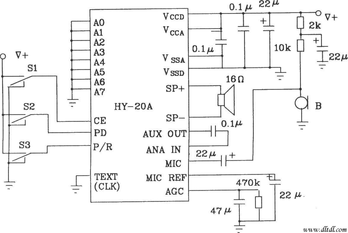 HY-20A引脚图 HY-20A的应用电路如图所示。图中S1、S2、S3分别为片选、状态控制、录放音转换开关。录音时,先将龟、S3置低电平,Sl置高电平,录音开始时将Sl由高电平转至低电平,电路即进入录音状态。循环录音时,将Sl、S3置低电平,S2置高电平,电路通电后即进入循环录音状态。循环放音时,将Sl置低电平,S2、S3置高电平,电路通电后即自动进入循环放音状态。