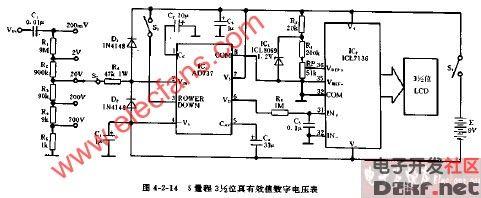 12位真有效值数字电压表电路图