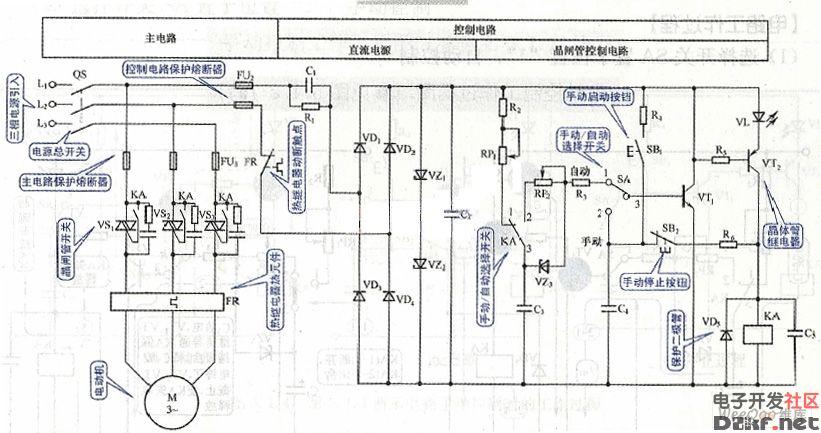 双向晶闸管电动机控制电路图一