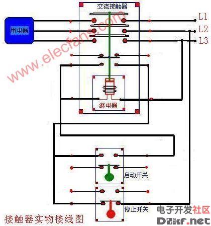 交流接触器实物连接图