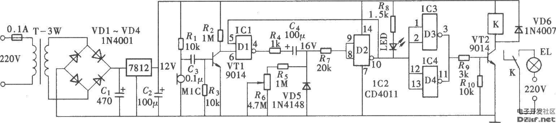 由cd4011构成的长延时声控照明灯开关电路