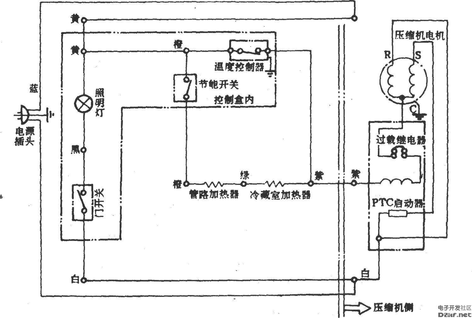 吉诺尔牌bcd-215电冰箱电路