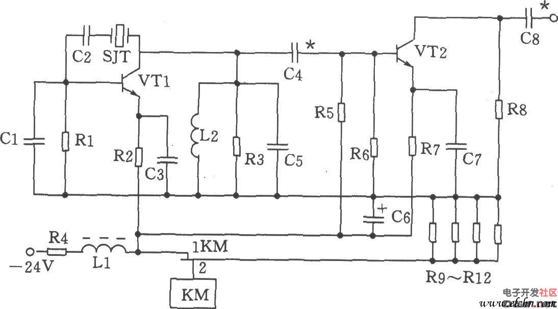 如图为70MHz并联型晶体振荡电路。振荡器主要是由三极管VTl、晶体SJT及电容Cl、C5等元件组成。 元器件选择: 电容Cl为20p,C2为100p,C3、C7为820p,C4为56p,C5、C8为47p,C6为47F/50V。电 感Ll为H(色码电感),L2为0.3H。电阻Rl为1.6k,R2为1k,R3为750,R4为 180、1W,R5为1.3k,R6为3k,R7为360,R8为470,R9~R12为、2W。三极管VTl、VT2选3DG828,65115。晶体SJT用JA98型-70MHz。继电器