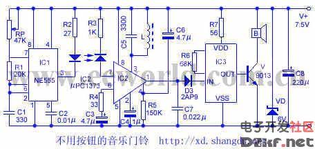 电路ic3无触发脉冲,不产生音乐信号输出