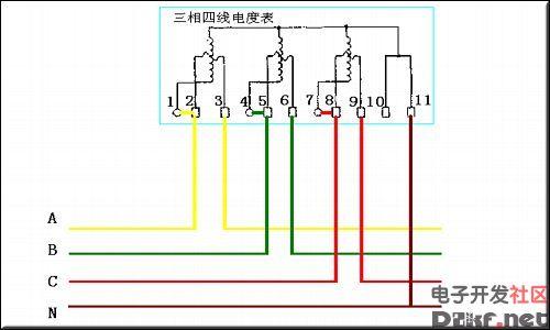三相四线电表接线图