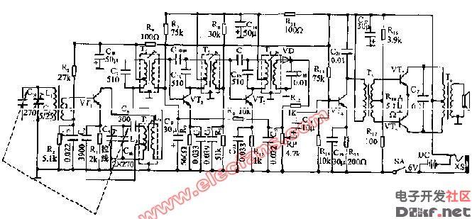 晶体管超外差式六管收音机电路图