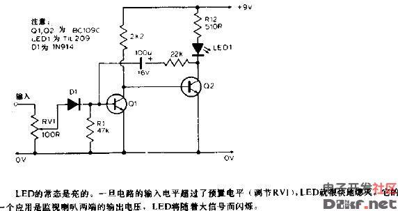 峰值电平指示器电路图