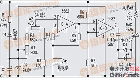 自制恒温电烙铁电路图