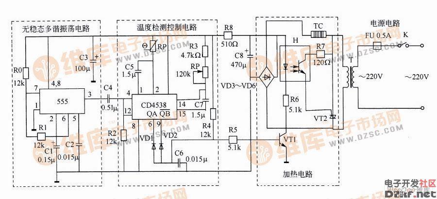 温度控制电路   该电路是由温度检测控制电路、电源电路、加热电路以及无稳态多谐振荡器四部分组成的。   无稳态多谐振荡器电路主要包括电容器C1、C2、电阻器R0、R1和555时基集成电路。从555的3引脚输出方波脉冲信号,此脉冲信号通过C4和V2微分处理后,从CD4538的4引脚和12引脚输入,触发其内部的两个单稳态电路,并进行脉冲宽度比较。   当CD4538的6引脚和9引脚同时输出高电平时,VD1和VD2截止,VT1导通,H内部的发光二极管点亮,光敏晶体管导通,使VT2受触发而导通,TC通电开始加热。