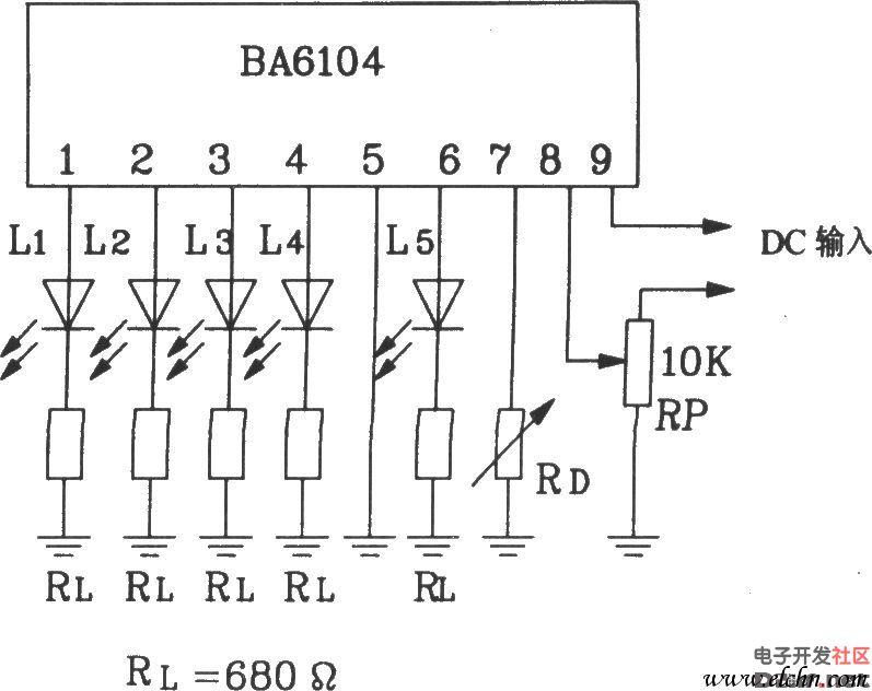 ba6104五位led电平表驱动集成电路基本应用电路图