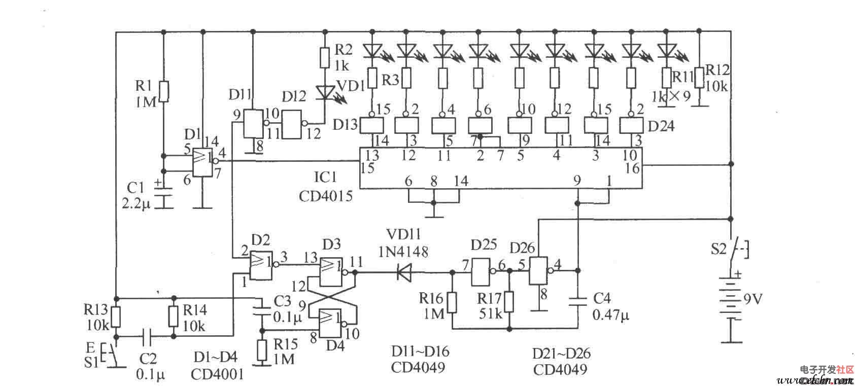 与非门d25,d26等组成多谐振荡器