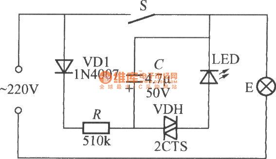 如图是一个闪烁发光指示的电灯开关电路。S闭合时,灯E正常发光,闪烁发光指示电路失电不工作。打开S后,220V交流电经灯泡E及二极管VD1整流、R降压限流向电容C充电。该电路利用双向触发二极管VDH的负阻特性及电容C的充放电原理便可构成一个弛张振荡器,故发光管LED就会闪烁发光,在夜间非常醒目,使人很容易找到开关位置。如果S打开后,LED不发光,不是灯泡E灯丝烧断,就是电网停电了。VDH可采用转折电压在20~40V范围的双向触发二极管,如2CTS1A、DB3型等。LED最好采用高亮度的红色发光二极管。
