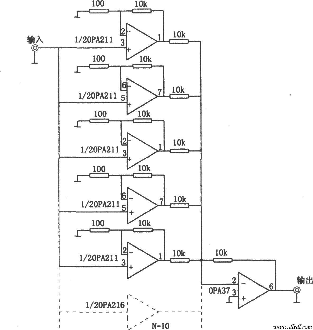 放大器的输入级采用多级并联可以提高放大电路的信噪比,这是因为输入信号电压经多级并联放大电路放大,再经第二级放大器求和后,可使总输出电压提高数倍。该倍数等于输入级的并联级数。若输入级为n级并联输入,则信号输出电压将提高规倍,而放大器的噪声电压