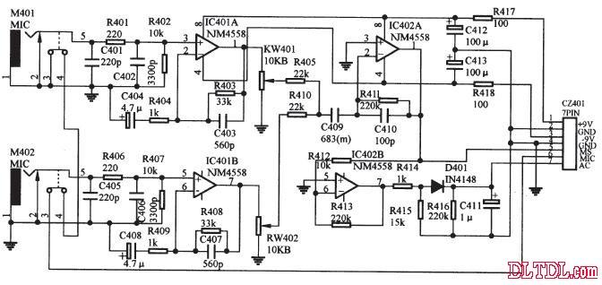 图6 4558 用于vcd音频放大电路