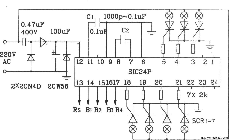 sic24p用于控制交流彩灯应用电路