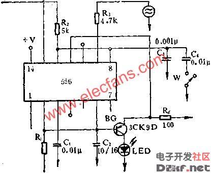 555电路构成超声波驱虫电路图