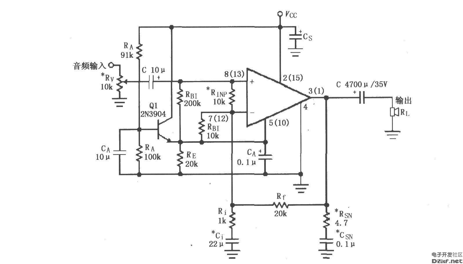 如图所示为LM4730/4731的单电源供电音频功率放大电路(括号中标号为内部放大器B的引脚标号),Rv为音量电位器。单电源供电时,采用91kΩ电阻与100kΩ电阻分压取约0.5VCC作为偏置电压,经过Q1电压跟随器加到LM4730输入端,使输出电压以0.5VCC为基准上下变化,因此可以获得最大的动态范围。*元件为根据实际需要可选用的元件,主要用于抑制放大器高频自激振荡。