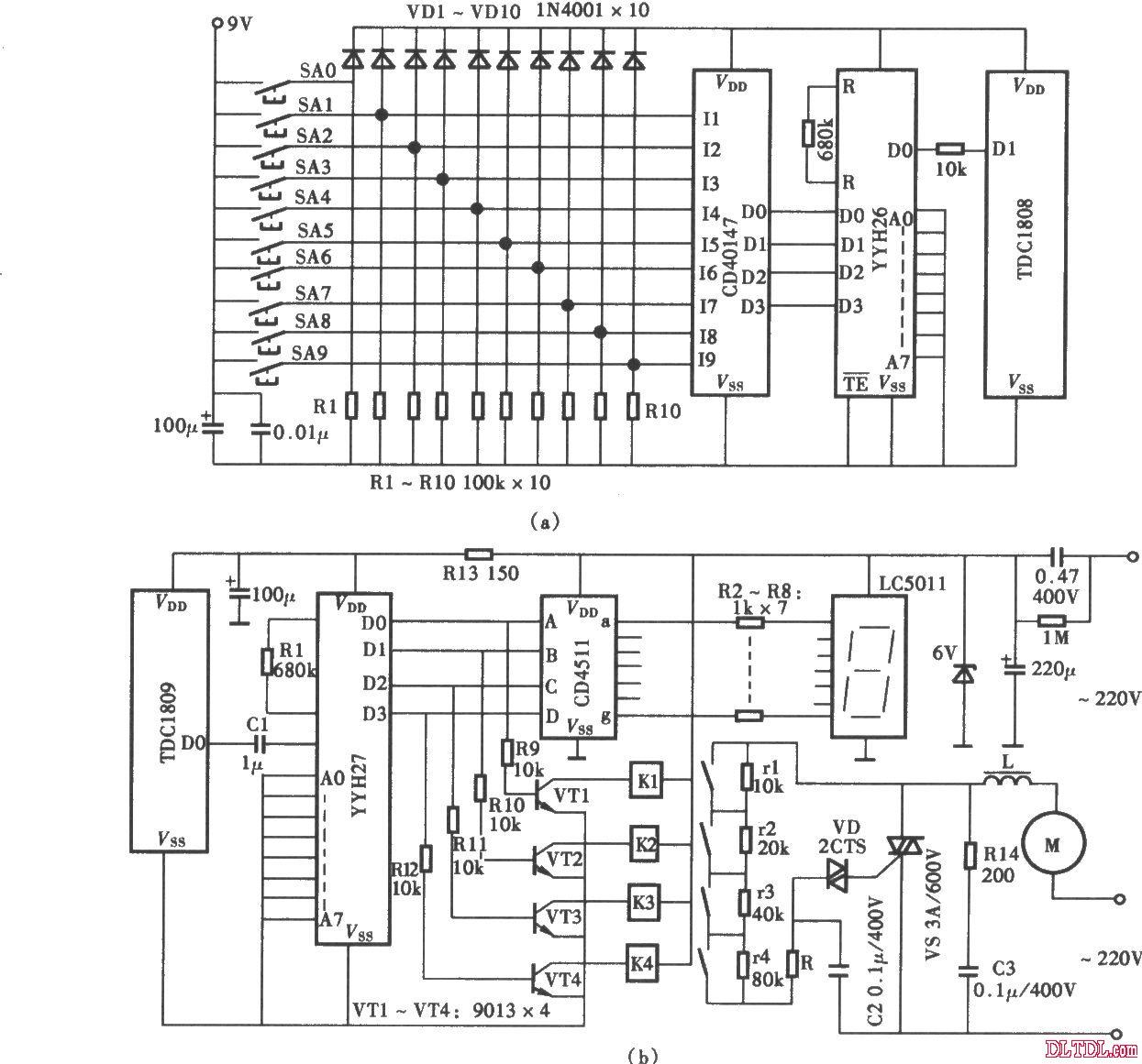 十挡数显吊扇无线电遥控调速电路