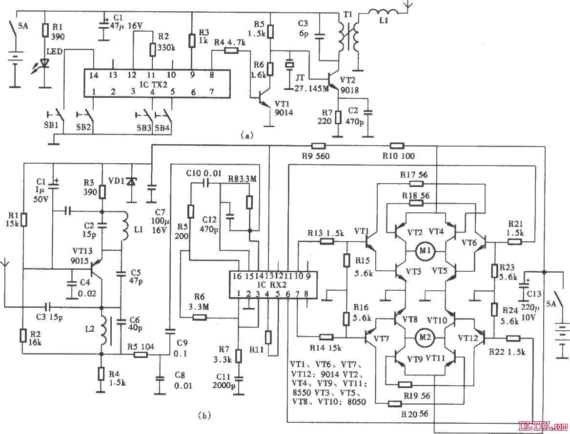 无线电遥控玩具车电路