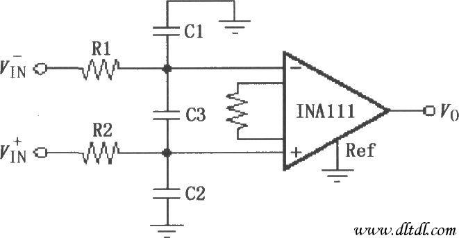 如图所示为输入低通滤波电路。INA111为FET输入,允许在输入端采用RC滤波器而不会因为偏流产生大的失调电压。输入端采用RC低通滤波器可以使INA111具有极好的高频共模抑制。共模电容C1、C2必须相等,如果两者失配,将造成原来高频共模干扰信号变为差模信号,形成对电路的干扰。差模电容C3会减小带宽,同时对改善C1、C2失配的影响有作用。取值时差模电容C3要大于共模电容C1。