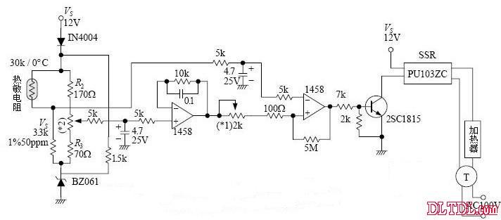 ntc热敏电阻温度传感器温度控制电路